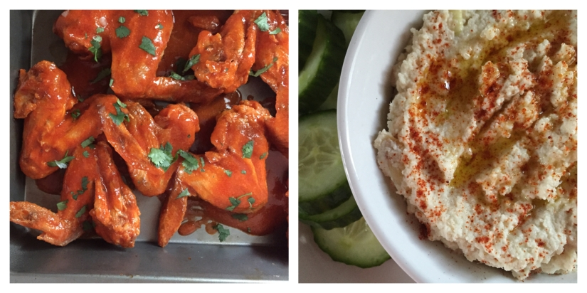 "Game Day Recipes – Buffalo Chicken Wings & Caramelized Onion Cauliflower ""Hummus"""